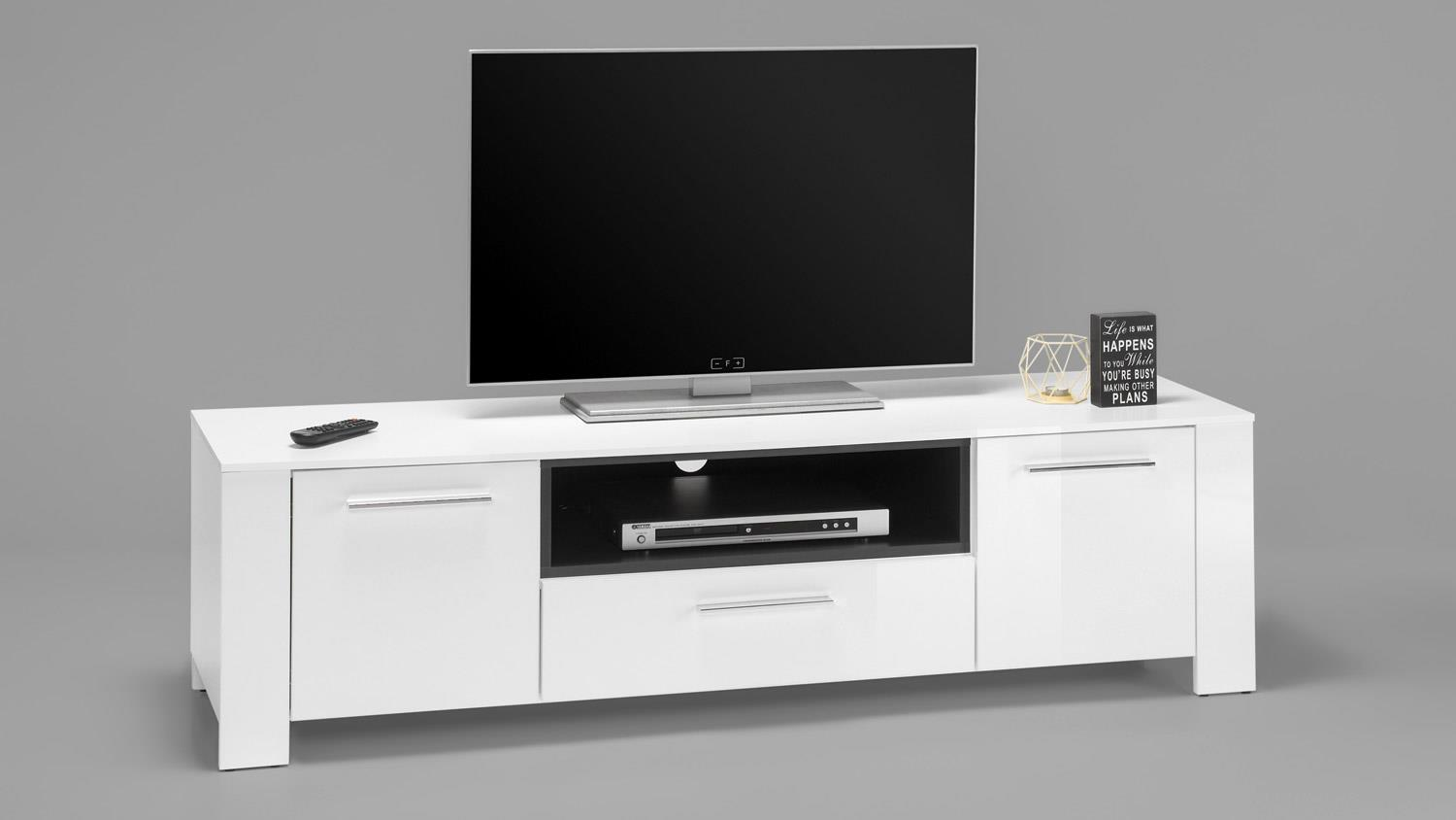 lowboard 6 case tv board 2 t rig in wei hochglanz grau. Black Bedroom Furniture Sets. Home Design Ideas