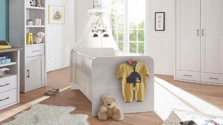 babybett luca kinderbett pinie wei mit schlupfsprossen. Black Bedroom Furniture Sets. Home Design Ideas