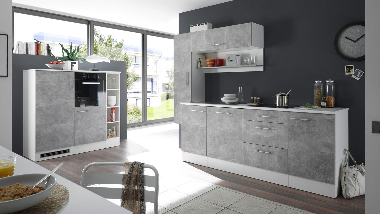 Kuchenblock turn kuche einbaukuche in betonoptik und weiss matt for Betonoptik küche