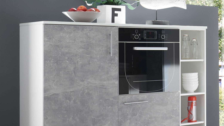 Küchenblock TURN Küche Einbauküche in Betonoptik und weiß matt