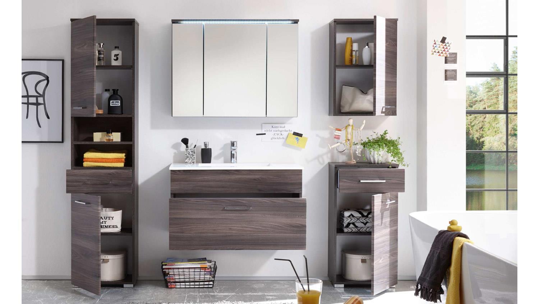 badezimmer seattle badm bel set eiche braun mit becken und led 5 tlg. Black Bedroom Furniture Sets. Home Design Ideas