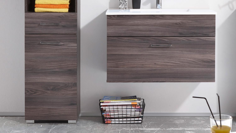 badezimmer seattle sangallo braun tiefzieh mit becken und led 5 teilig. Black Bedroom Furniture Sets. Home Design Ideas