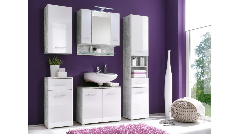 kommode barolo badm bel schrank in betonoptik und mdf wei. Black Bedroom Furniture Sets. Home Design Ideas