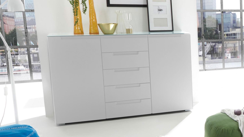 kommode tiger sideboard in wei hochglanz mit glasplatte. Black Bedroom Furniture Sets. Home Design Ideas