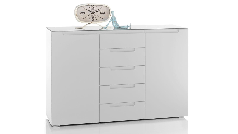 kommode 995 tyga sideboard anrichte in wei hochglanz mit glas 130x87. Black Bedroom Furniture Sets. Home Design Ideas