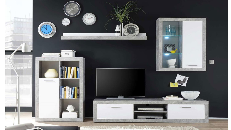 wohnwand shark in beton weiss dekor mit led beleuchtung. Black Bedroom Furniture Sets. Home Design Ideas