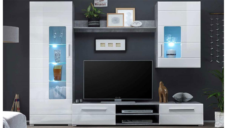 anbauwand everest hochglanz weiss betonoptik mit led. Black Bedroom Furniture Sets. Home Design Ideas