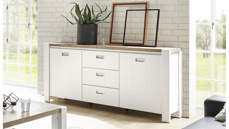 Sideboard Melly im modernen Landhausstil in Weiß matt und Eiche✓