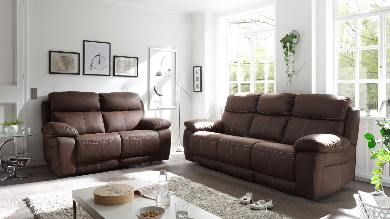 Sofa verona 3 sitzer in stoff dunkelbraun inkl for Sofa 4 sitzer stoff