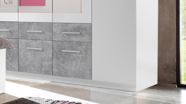 kleiderschrank box 5 schrank 5 t rig in wei beton mit spiegel 212 cm. Black Bedroom Furniture Sets. Home Design Ideas