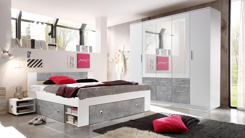 schlafzimmer stefan box 5 bett schrank wei beton 140x200. Black Bedroom Furniture Sets. Home Design Ideas