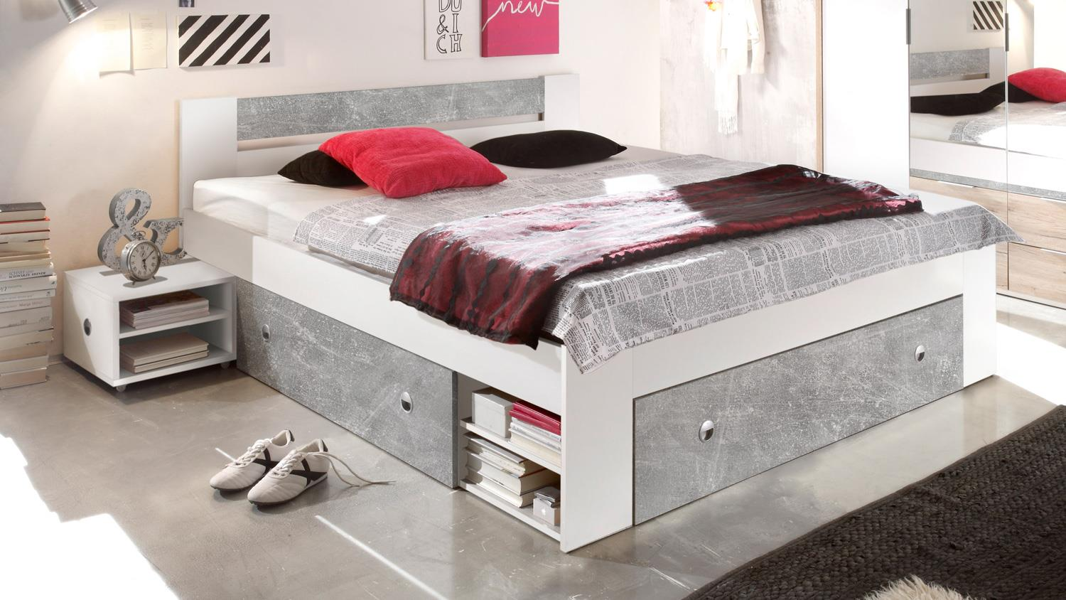 schlafzimmer stefan box 5 bett schrank wei beton 4 teilig 140x200 cm. Black Bedroom Furniture Sets. Home Design Ideas