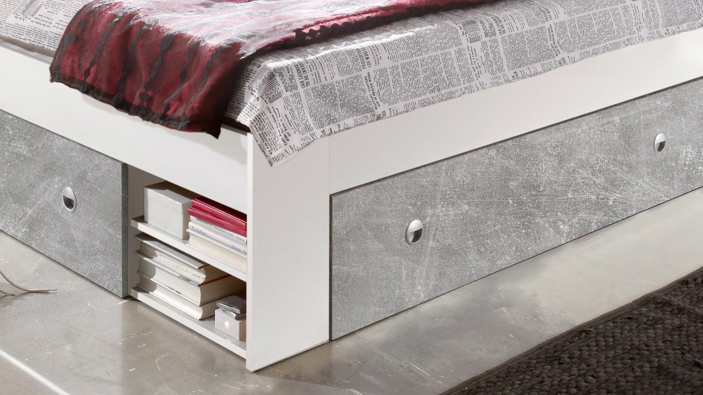 Schlafzimmer Stefan Box 5 Bett Schrank Weiss Beton 140x200