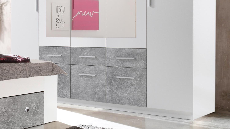 Schlafzimmer stefan box 5 bett schrank wei beton 140x200 - Kleiderschrank betonoptik ...