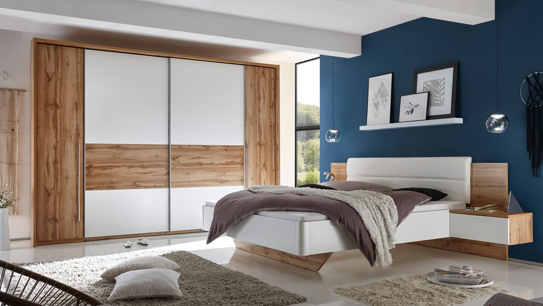 schlafzimmer san marino schrank bett nako wildeiche wei mit softclose. Black Bedroom Furniture Sets. Home Design Ideas