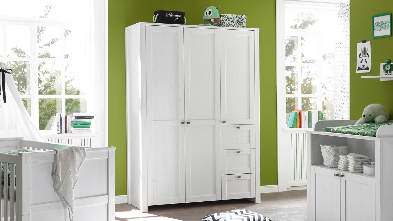 kleiderschrank luiza 3 t rig in anderson pinie wei 140 cm babyzimmer. Black Bedroom Furniture Sets. Home Design Ideas