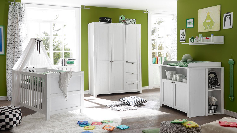 babyzimmer luiza anderson pinie wei schrank bett wickelkommode 3 tlg. Black Bedroom Furniture Sets. Home Design Ideas