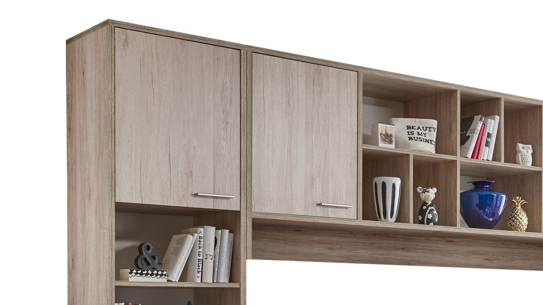 funktionsbett dakota schreibtisch bett berbau eiche san remo und wei. Black Bedroom Furniture Sets. Home Design Ideas