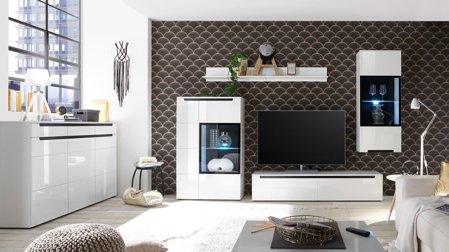 sideboard thor anrichte kommode wohnzimmer wei hochglanz mit 3 t ren. Black Bedroom Furniture Sets. Home Design Ideas