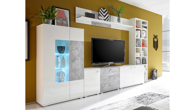 wohnwand performer anbauwand wei glanz betonoptik mit led beleuchtung. Black Bedroom Furniture Sets. Home Design Ideas