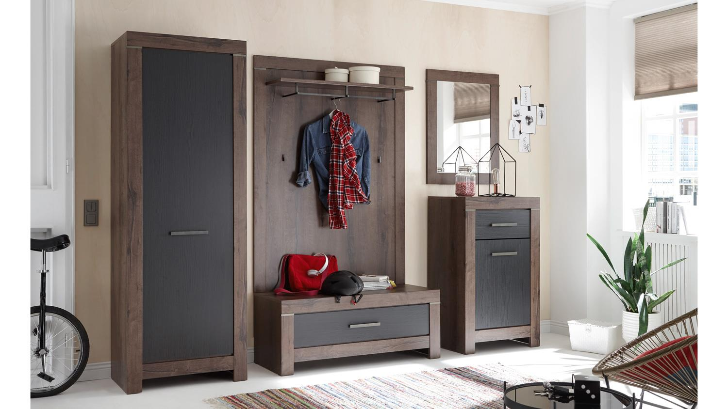 bank balin garderobe sitzbank canyon eiche schwarz mit 1 schubkasten. Black Bedroom Furniture Sets. Home Design Ideas