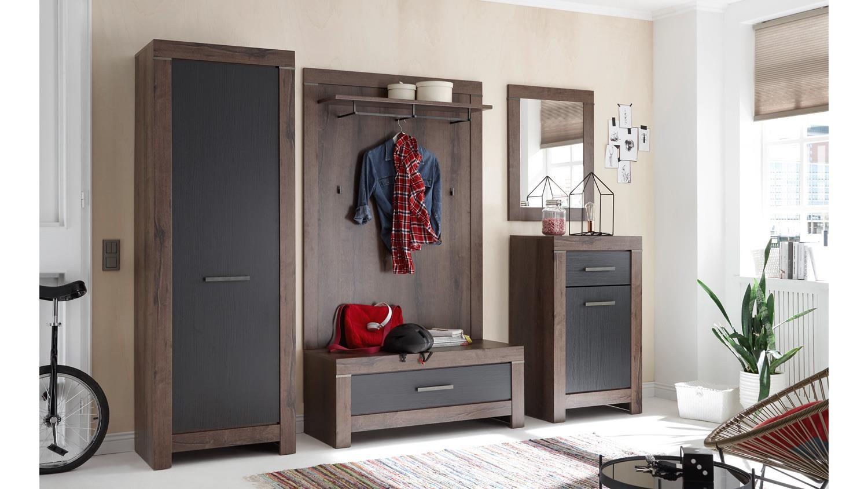 garderobe balin flurm bel dielenm bel in canyon eiche schwarz 5 teilig. Black Bedroom Furniture Sets. Home Design Ideas