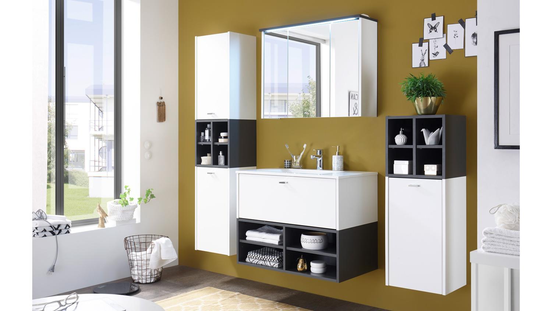 Hochschrank Fresh Badezimmer Schrank 2 Turig Weiss Matt Grau 4 Facher