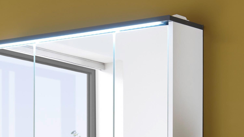 Spiegelschrank Fresh Badezimmer Schrank Weiss Matt Und Grau Inkl Led