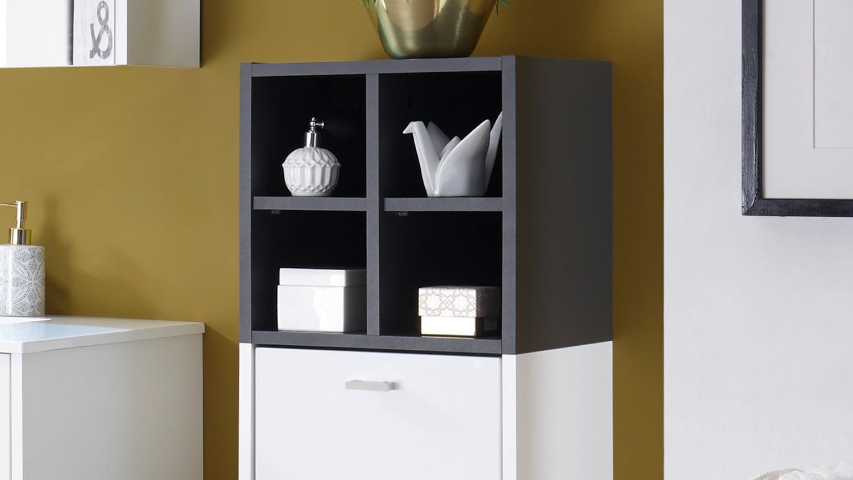 h ngeschrank fresh badezimmer schrank kommode 1 t rig wei matt grau. Black Bedroom Furniture Sets. Home Design Ideas