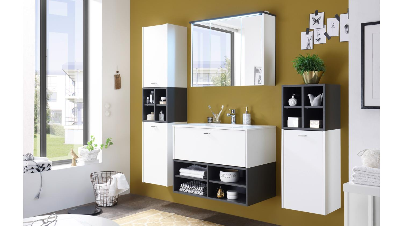 Badezimmer fresh komplettset wei matt und grau inkl becken und led - Badezimmer becken ...