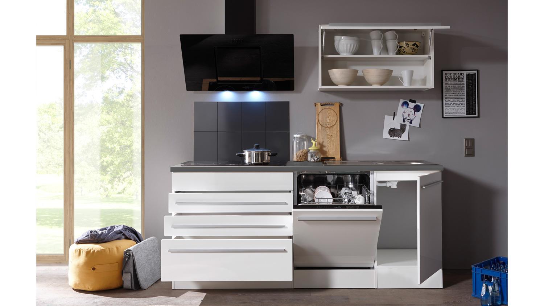 Küchenblock JAZZ 4 Küche Küchenzeile weiß matt Hochglanz und anthrazit