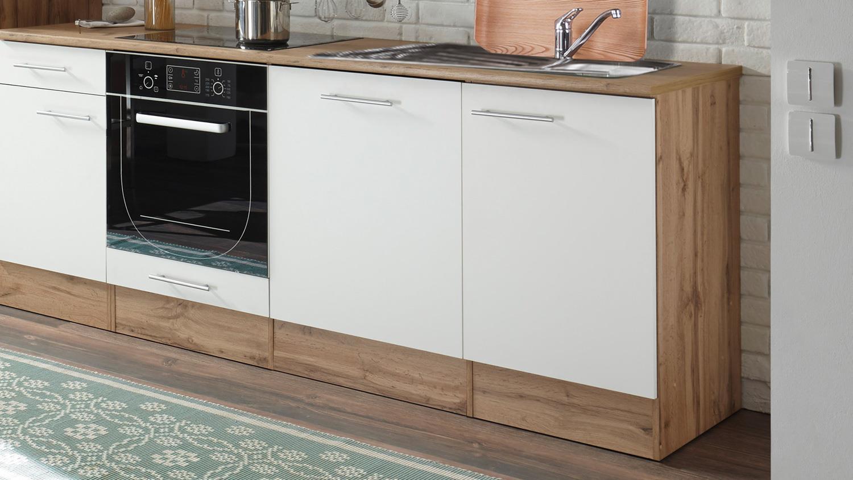 Küchenblock MADEIRA 310 Küche Küchenzeile in Wildeiche weiß 310x205 cm