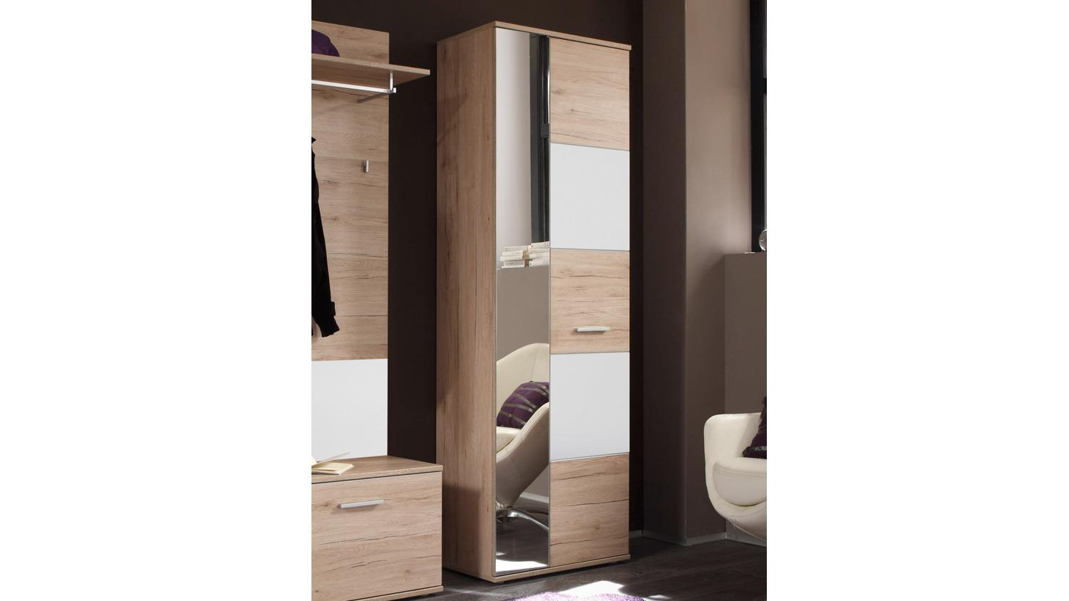 hochschrank linate dielenschrank 1 trg san remo eiche wei mit spiegel. Black Bedroom Furniture Sets. Home Design Ideas