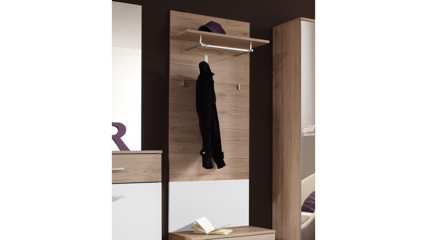 wandpaneel linate garderobenpaneel garderobe san remo eiche und wei. Black Bedroom Furniture Sets. Home Design Ideas