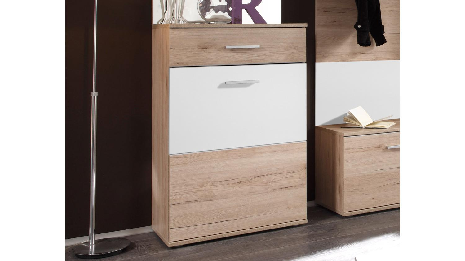 schuhkommode linate schuhschrank kommode 2 t rig san remo eiche wei. Black Bedroom Furniture Sets. Home Design Ideas