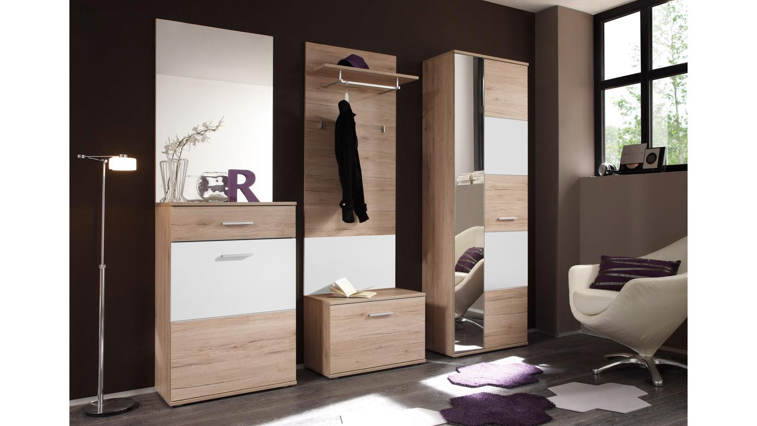 garderobe linate flurm bel in san remo eiche wei mit spiegel 5 teilig. Black Bedroom Furniture Sets. Home Design Ideas