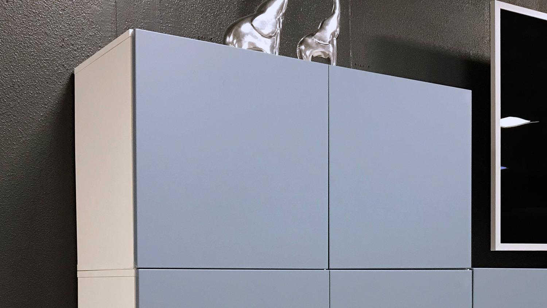 Büroschrank weiß mit türen  Hängeschrank Bright Schrank weiß blau mit 2 Türen inkl. push-to-open