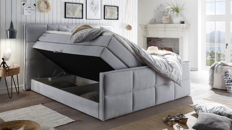boxspringbett arvada stoff pastell 7 zonen ttfk mit bettkasten 180x200. Black Bedroom Furniture Sets. Home Design Ideas
