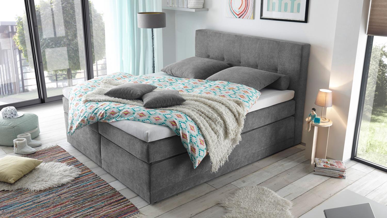 boxspringbett hot springs 2 stoff dunkelgrau mit 7 zonen ttfk 180x200. Black Bedroom Furniture Sets. Home Design Ideas