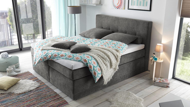 boxspringbett hot springs 2 stoff stone grau mit 7 zonen ttfk 180x200. Black Bedroom Furniture Sets. Home Design Ideas