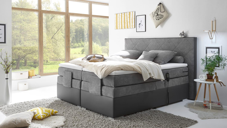 boxspringbett trenton 3 dunkelgrau grau 7 zonen ttfk mit. Black Bedroom Furniture Sets. Home Design Ideas