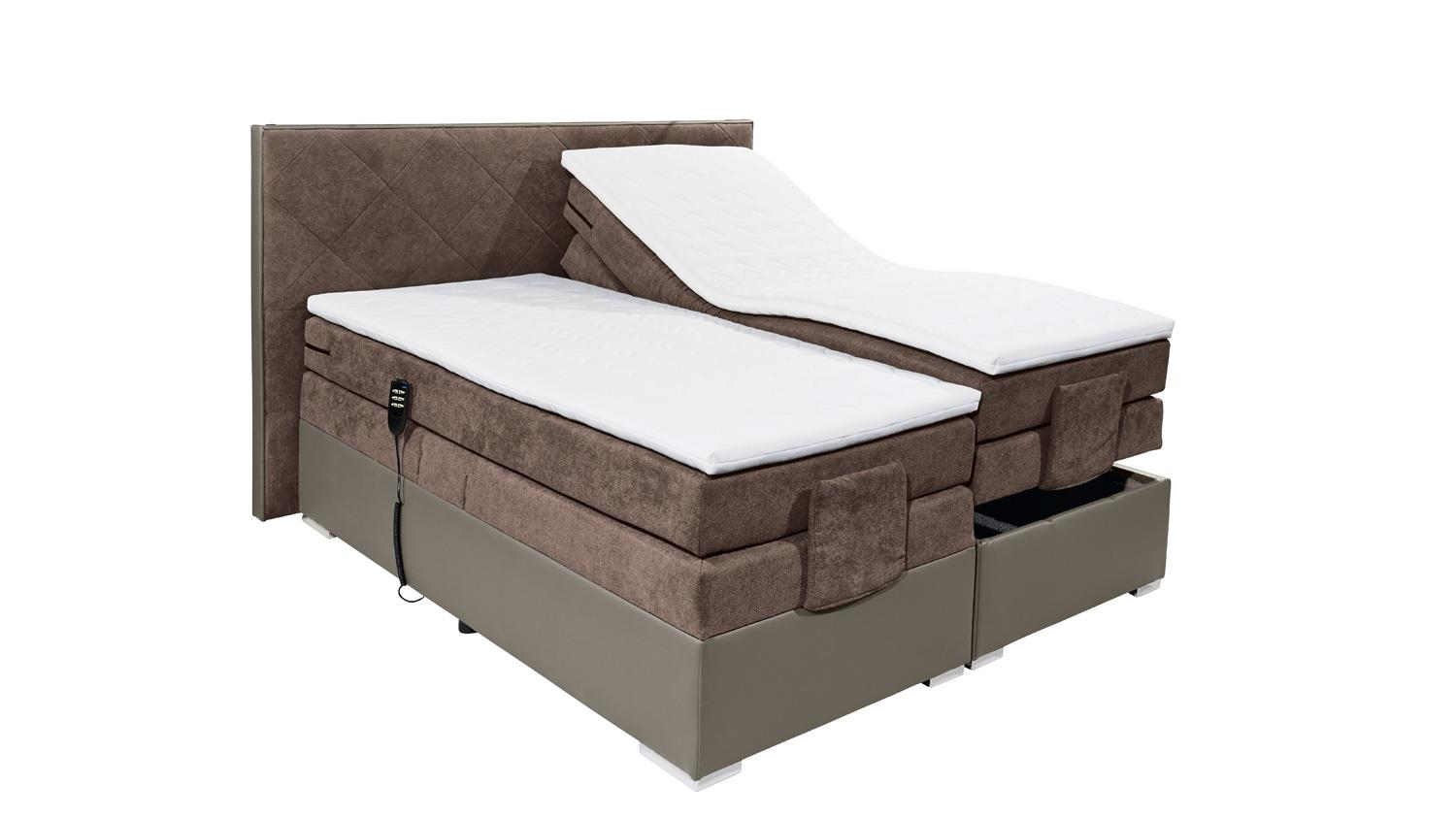 boxspringbett trenton 3 in grau braun 7 zonen ttfk mit motor 180x200. Black Bedroom Furniture Sets. Home Design Ideas