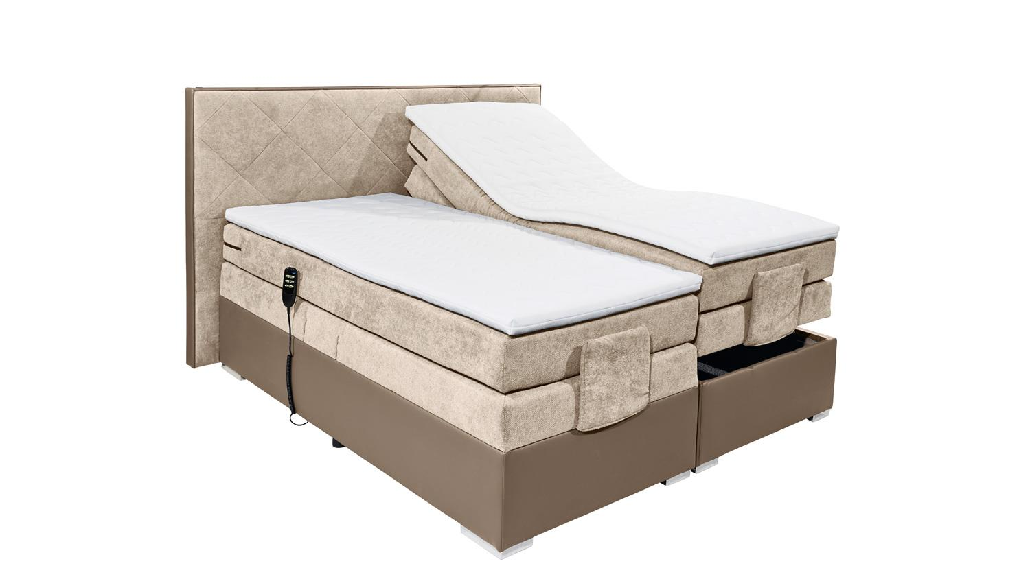 boxspringbett trenton 3 in taupe beige 7 zonen ttfk mit motor 180x200. Black Bedroom Furniture Sets. Home Design Ideas