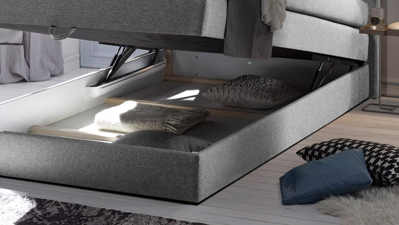 boxspringbett new bedford 1 in stoff grau federkern bettkasten 120 cm. Black Bedroom Furniture Sets. Home Design Ideas