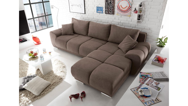 ecksofa arox stoff braun nosagfederung inkl. Black Bedroom Furniture Sets. Home Design Ideas