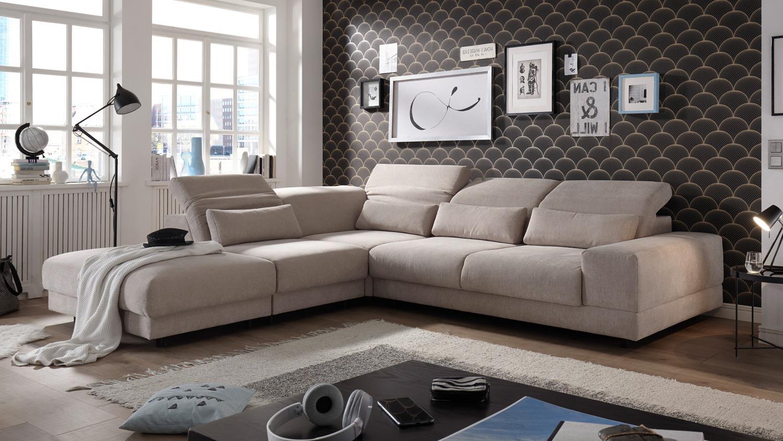 ecksofa le mans in stoff sand nosagfederung kopfteilverstellung links. Black Bedroom Furniture Sets. Home Design Ideas