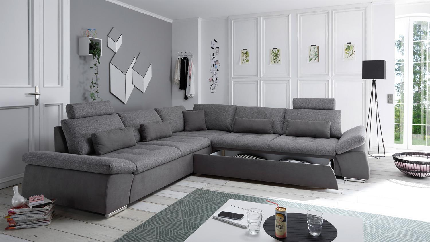 ecksofa lissabon stoff grau nosagfederung schlaffunktion kopfst tzen. Black Bedroom Furniture Sets. Home Design Ideas
