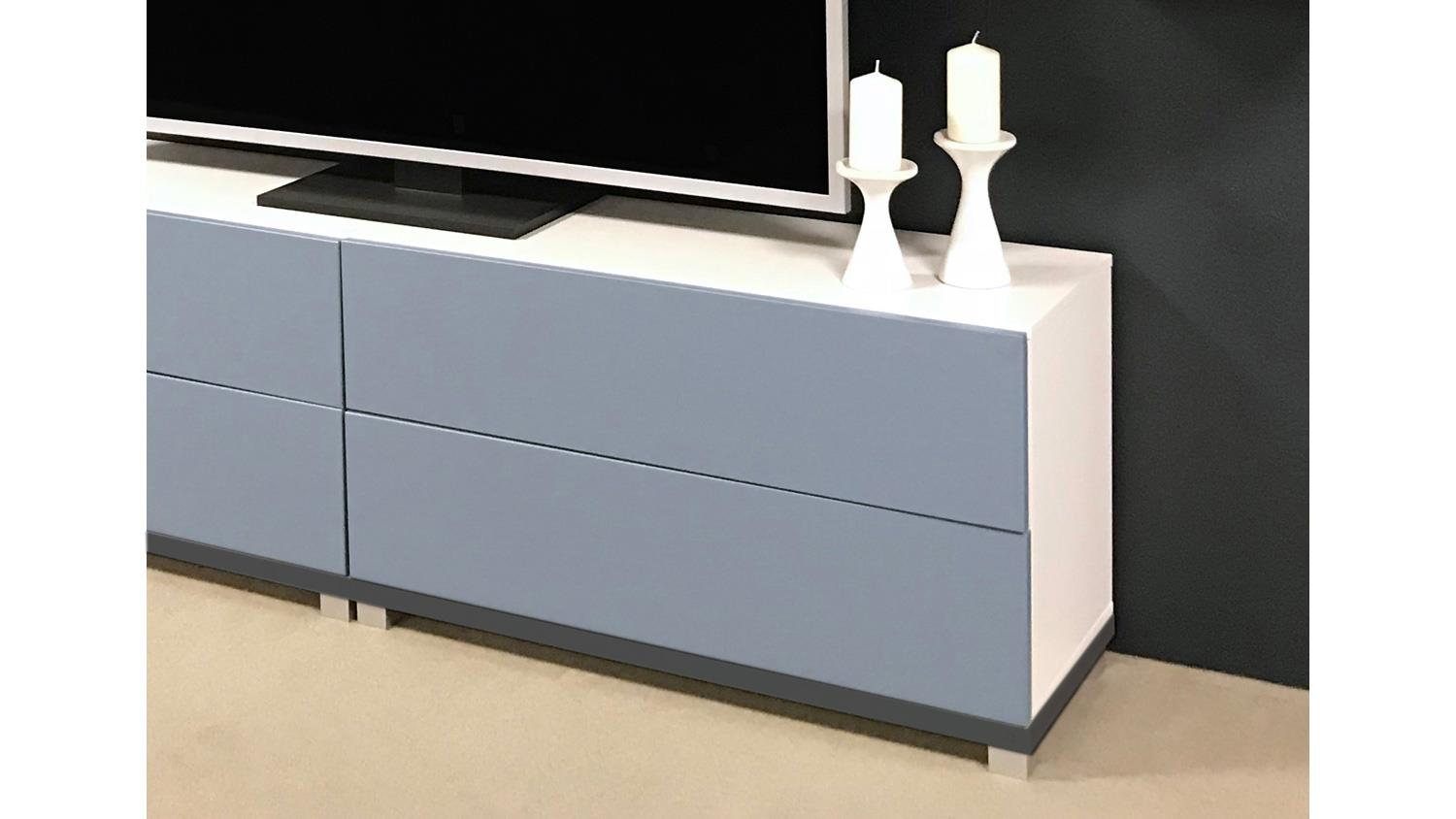 kommode bright tv board wei blau mit 2 schubk sten inkl push to open. Black Bedroom Furniture Sets. Home Design Ideas