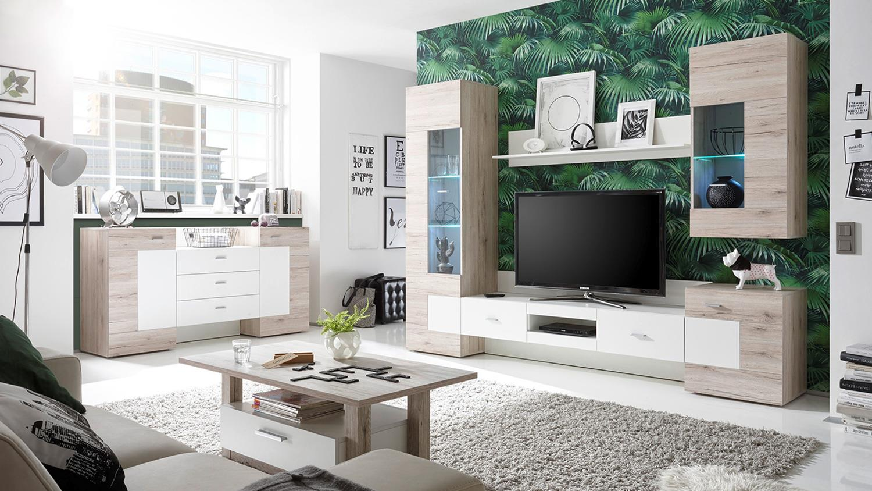 wohnwand malaga anbauwand in sandeiche und wei inkl led beleuchtung. Black Bedroom Furniture Sets. Home Design Ideas