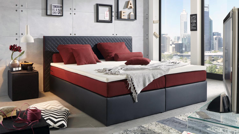 polsterbett perth bett schwarz rot federkern inkl topper 180x200 cm. Black Bedroom Furniture Sets. Home Design Ideas